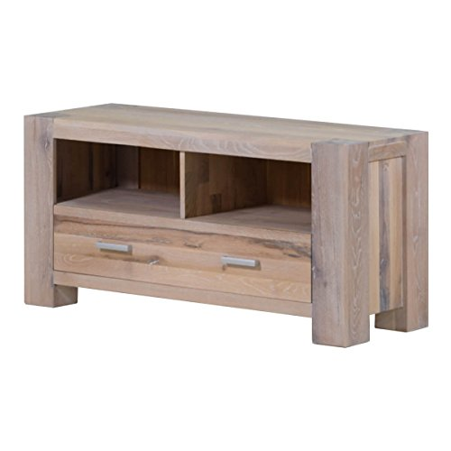 Preisvergleich Produktbild MÖBEL IDEAL TV-Board Lowboard Braxton Massivholz Holz Eiche massiv weiß gekälkt Breite 133 cm Tiefe 47 cm Höhe 64 cm