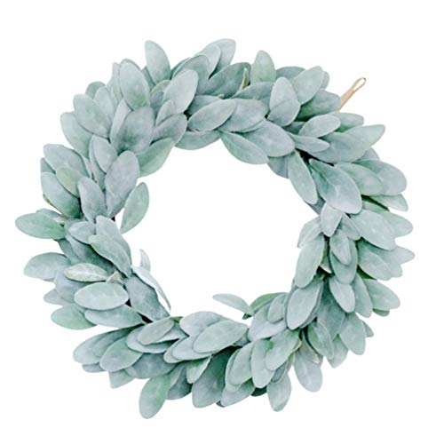 VALICLUD Christmas Leaf Wreath Flocked Lambs Ear Spray Stems Wreath Artificial Greenery Plant for Home Wedding Wall Door Window Wreath Decoration