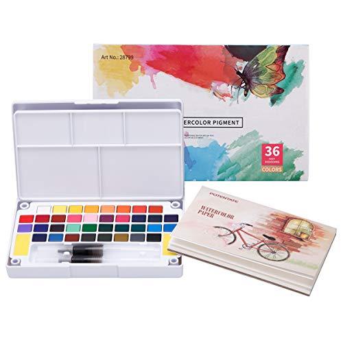 LAOYE - Set de Acuarelas de 36 Colores de Agua, Incluye 36