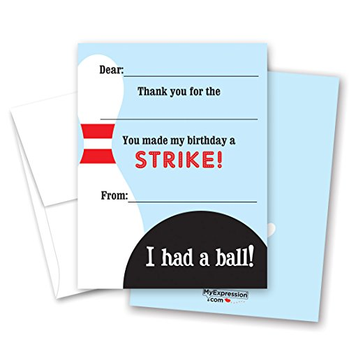 20 Fun Bowling Fill-in Children Birthday Thank You Cards
