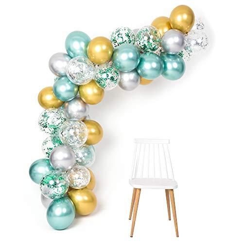 Gustawarm Verde Oro Plata Globos metálicos Kit de Arco de Guirnalda 12 Pulgadas 50pcs para Jungle Theme Party Supplies Baby Shower Cumpleaños Decoraciones de Boda