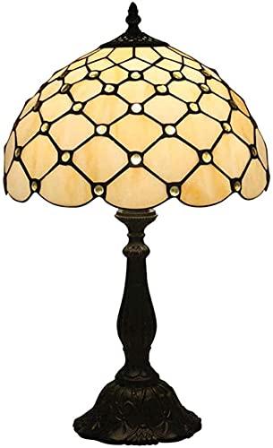 Lampe Bureau Arc Lampes De Bureau Économie D'énergie Éclairage Salon Antique En Alliage De Zinc Base Décoration Cristal Perle Perle Vitrail Lampe