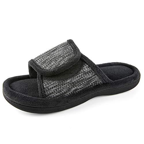 RockDove Men's Adjustable Wrap Memory Foam Slide Slipper, Size 9-10 US Men, Black