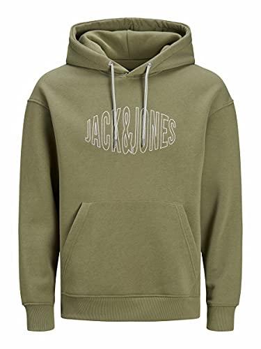 JACK & JONES Jorworld Sweat-shirt à capuche pour homme, Martini Olive Relaxed, L