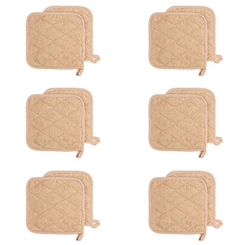 Arkwright Cotton Terry Pot Holders, Pack of 12 Kitchen Hot Pad Set, Heat Resistant Coaster Potholder for Cooking, Baking (7 x 7 Inch, Tan)