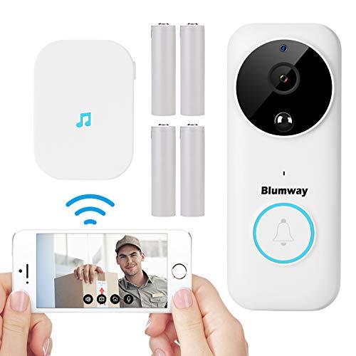 BlumWay video deurbel, 1080P HD WiFi video deurbel met bel, 30 ° hoekbeugel en 4 oplaadbare batterijen, intercomfunctie, PIR bewegingsbewaking, nachtzicht, 170 ° gezichtsveld