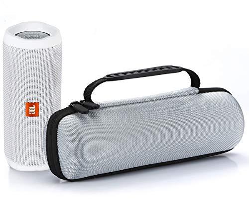 Funda de Transporte Rígido para JBL Flip 4 / JBL Flip 3 Altavoz Bluetooth portátil. Compatible con Cable USB y Cargador de pared - Plata