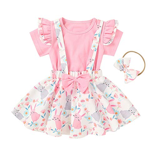 Conjunto de ropa para niña de Pascua de 3 piezas, camiseta monocolor + camiseta de dibujos animados de Pascua + vestido de tirantes + cinta para la cabeza para bebé, sin mangas Rosa A 18-24 Meses
