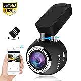 Mini Cámara de Coche Wifi Dashcam HQBKING 1080P video camara para coche con Lente de gran ángulo de 170 ° Pantalla LCD de 1.5 in y diseño discreto con 360 giros soporte ajustable, tarjeta 16G incluida