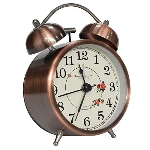 Coolzon® Reloj Despertador Doble Campana Clásico de Pilas con Loud, de Silencioso Analógico de Cuarzo sin Hacer Tictac Despertador con Luz Nocturna - Patrón Vintage