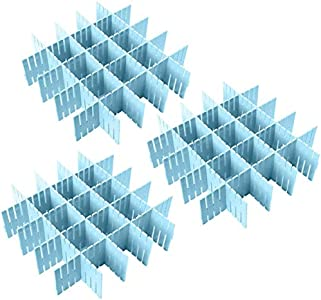 AOI 8pcs Divisor de cajón de Rejilla Ajustable DIY plástico Closet Separador Tidy Organizador contenedor para Ropa Interior Calcetines Cinturón Suministros de Oficina (Azul)