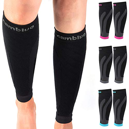 Cambivo 3 Pairs Calf Compression Sleeve for Women and Men,Leg Brace for Running, Cycling, Shin Splint Support for Working out(Black, Large-X-Large)