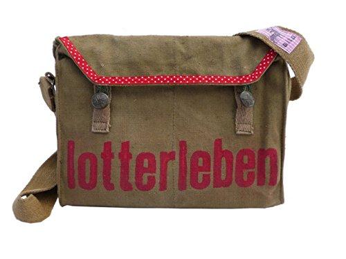 Lotterleben, recycling tasche, oliv, rot