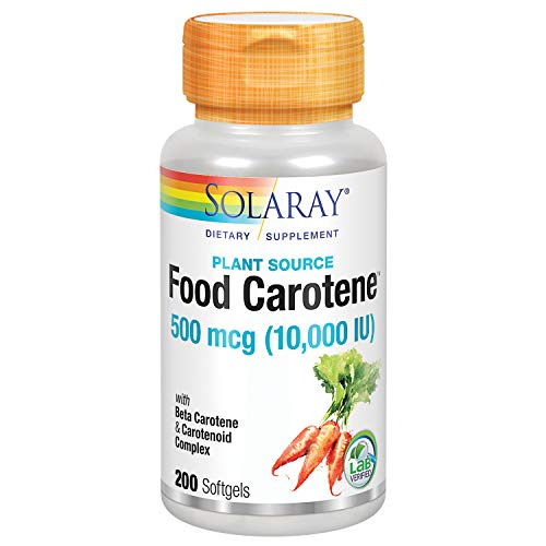 Solaray Food Carotene, Vitamin A 10000 IU | Healthy Skin, Eyes, Antioxidant & Immune Support (200 CT)