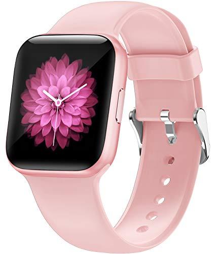 Smart Watch 2020 Ver,1.5 pulgadas Fitness Tracker con monitor de frecuencia cardíaca, IP68 impermeable reloj de fitness con podómetro, smartwatch compatible con iPhone Samsung teléfonos Android (rosa)