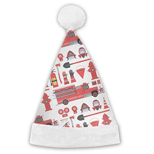 Sombrero de Pap Noel sombreros de Navidad camin de bomberos patrn bombero bombero comodidad de felpa para Navidad Ao Nuevo fiesta suministros