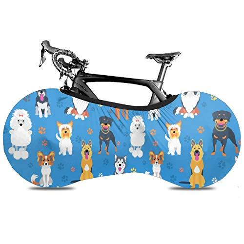Asiático Elementos Paisley Cubierta de Bicicleta Portátil Interior Anti Polvo Alta Elástica Cubierta De Rueda De Bicicleta De Protección Rip Stop Neumático Carretera Mtb Bolsa De Almacenamiento, Bonito diseño de perro., talla única
