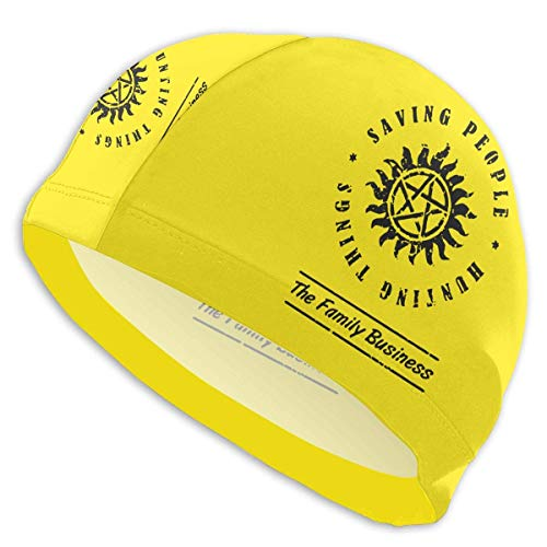 HFHY Supernatural Saving People Hunting Things Adult Summer Time Beach Bath Caps for Men Women Unisex