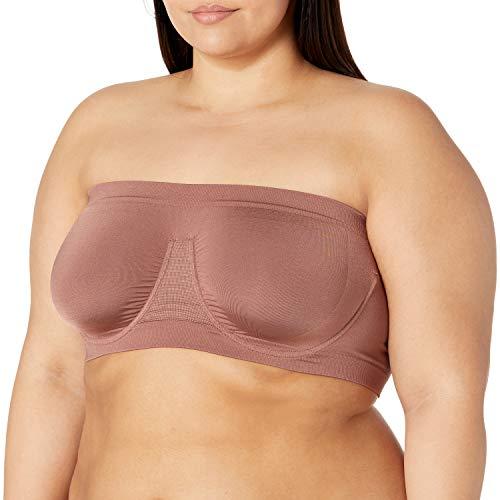 Rhonda Shear Pluz Size Angle Womens Angel Seamless Underwire Bandeau Bra, Nutmeg, 1X