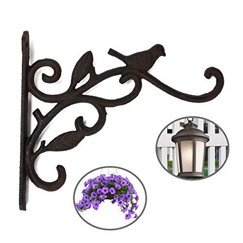 DEWEL Wandhalterung aus Gusseisen für Blumenampeln, Windspiele,Hanging Basket etc. Hängevorrichtung mit Blätterranken und Vögel Design, mit Schrauben und Dübel