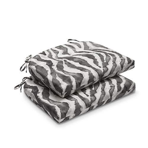 downluxe Outdoor/Indoor Waterproof Round Corner Seat Cushion, 17' x 16' x 2', Zebra Stripe, 2 Pack