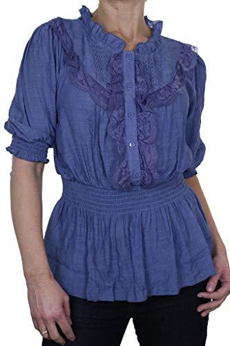 Dames Romantische Stijl Tuniek Shirt Top met Kant 8-18