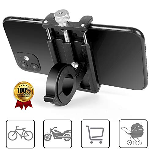 Phone Mount for Bike & Motorcycle, 90° Rotation Universal Aluminum Alloy Phone Holder, for iPhone 11Pro XS XR 8Plus Galaxy S10 S9 S8, Best Bicycle Handlebar Accessories Gift