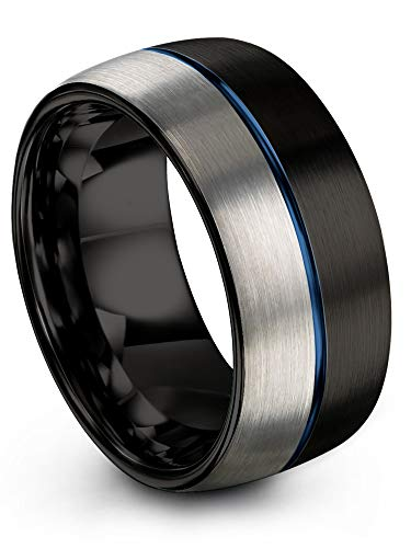 Chroma Color Collection Tungsten Carbide Wedding Band Ring 10mm for Men Women Blue Center Line Black Interior with Dome Grey Exterior Half Brushed Polished Comfort Fit Anniversary Size 11.5
