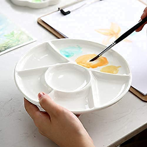 Ceramic Artist Paint Pallet,Tray,Palette,Easy to Clean Porcelain Mixing Tray for Watercolor Gouache Painting,6 Wells,8 inch, White, Round