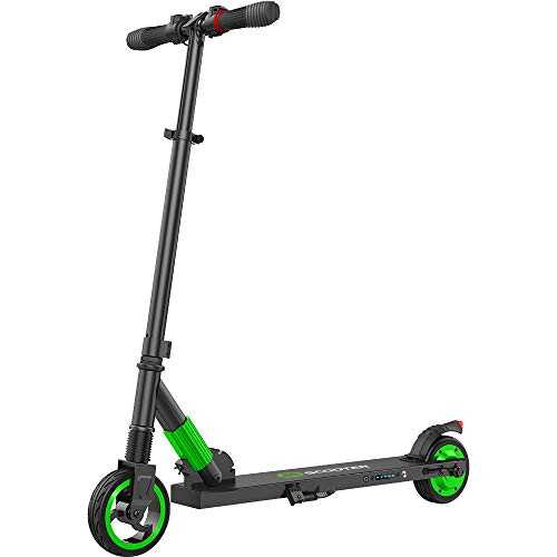 E Scooter Tret-Roller, CityRoller Elektrischer Roller Klappbar mit 12km Langstrecken Akku, bis zu 23km/h, Einfach zu Falten und zu Tragen E-Roller für Erwachsene Jugendliche und Kinder (Grün)