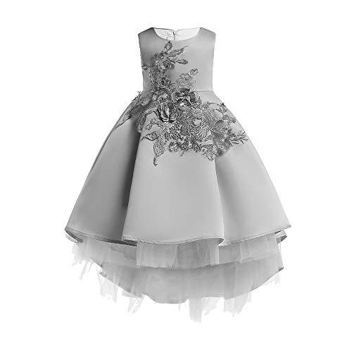 Quaan-Weihnachten Blumen Baby (12M-7J) Hochzeit Kleid, Quaan Mädchen Prinzessin Brautjungfer Festzug Kleid Geburtstag Party Weihnachten Geschenk (Grau, 100)