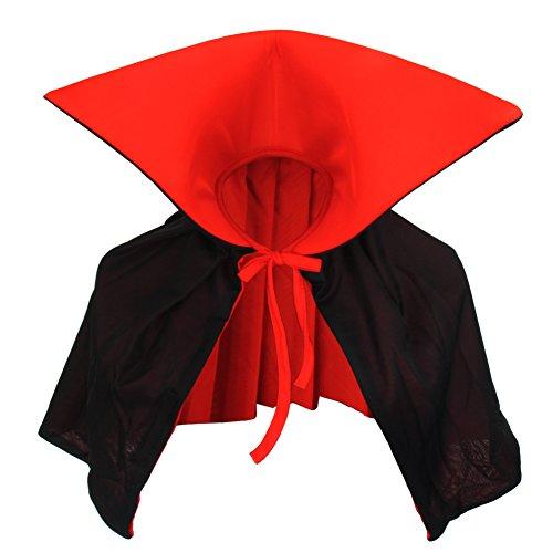 Vampiro Collo Alto Mantello Rosso Nero Dracula Mini