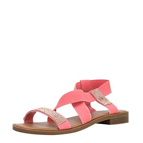 Fitters Footwear That Fits Donne Sandalo Lynn Sintetico Sandalo Semplice con Fascia Elastica e zirconi (44 EU, Corallo)
