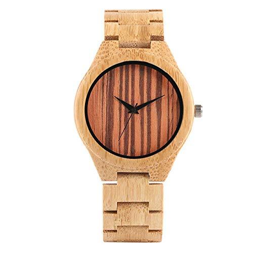DZNOY Reloj de madera casual de bambú/correa de cuero reloj de pulsera para hombre único con dial de rayas relojes de madera de bambú relojes masculinos reloj de bolsillo (color: banda de bambú)