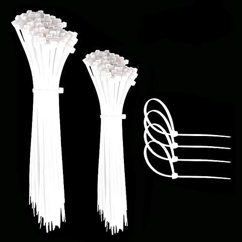 Faburo 200pz Fascette Plastica per Cablaggio, Fascette Stringicavo,Fermacavo Bianco Elettricista, Nylon Cavi Fascette(100pz*15cm+100pz*20cm)…