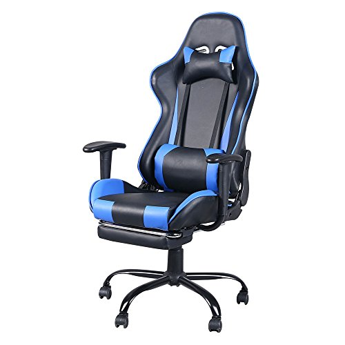 Video Game Chairs Ergonomic Computer Gaming Chairs PU Office Chair Height Adjustable Swivel Recliner with Footpest, Headrest && Lumbar Support (Blue)