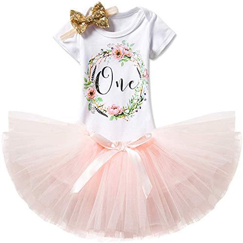TTYAOVO Mädchen Rock Neugeborenen 3er Babys 1 Geburtstag Set/Outfits mit Romper + Tutu Kleid + Stirnband Größe 1 Jahr 163 Rosa