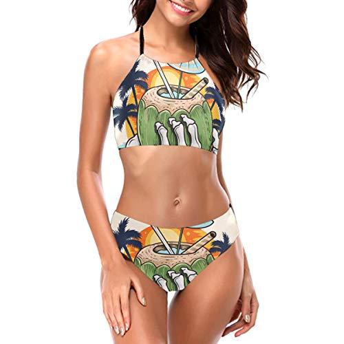RTBB conjuntos de bikini para mujer con impresión 3D, esqueleto que sostiene la mano de coco, 2 piezas Negro Negro ( 52
