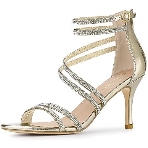 allegra k stilettos Allegra K Women's PU Ankle Strap Rhinestone Stiletto Heels Sandals