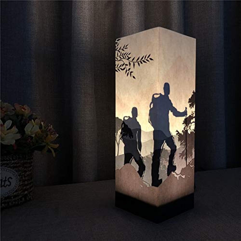 LDAKLE Schlafzimmer Tischlampe 3D Nachtlichter Papier Schatten Led Beleuchtung Wandern Camping Design Indoor UseTouch Sensor