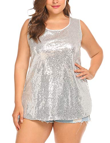 IN'VOLAND Women's Sequin Tops Plus Size Glitter Tank Top Sleeveless Sparkle Shimmer Shirt Tops Camisole Vest Silver