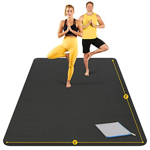 Large Yoga Mat 8'x6'x8mm Extra Thick, Durable, Eco-Friendly, Non-Slip & Odorless Barefoot...