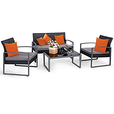 Tangkula 4 PCS Outdoor Patio Furniture Rattan Wicker Conversation Set with Coffee Table Loveseat 2 Single Sofas Set Furniture for Lawn Garden Poolside Modern Outdoor Furniture