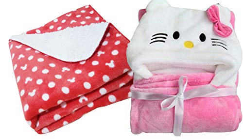 My Newborn Baby'S Hood Cum Blanket Wrap - Combo Of 2 (Red And Pink) For 0-3 Months
