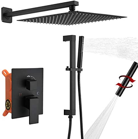 BESy Shower System with Adjustable Angle Slide Bar 12 Inch Rain Shower Head and Wand Wall Mounted product image