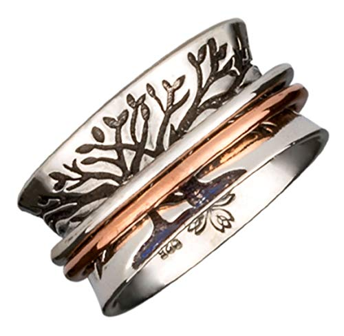 Energy Stone Double Tree Meditation Spinner Ring with 1 Brass 1 Copper Spinners (SKU US59) (8)