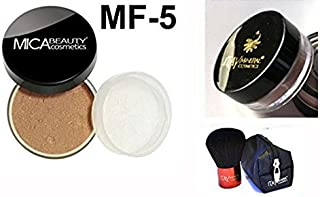 Mica Beauty(micabella) Mineral Foundation Mf-5 Cappuccino for Tan Skin+ Sample Size Foundation +Wine Red High Quality Kabuki
