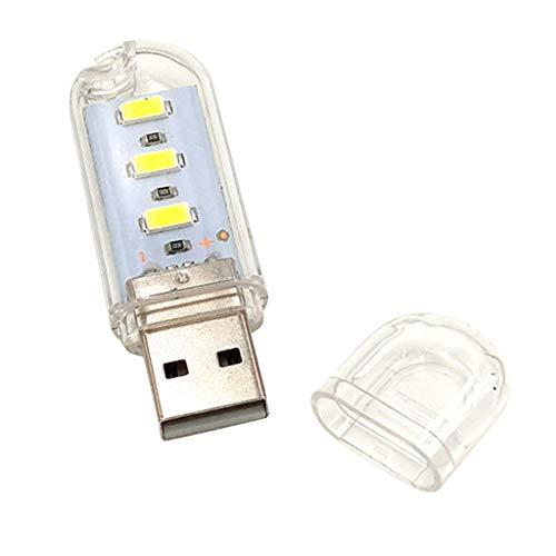 Ronyme 3 LED USB Teclado Luz Noturna Lâmpadas Flexíveis para Leitura Notebook Laptop - Branco quente