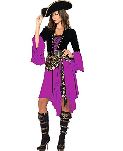 Ovender Costume Carnevale Tuta Travestimento Pirata Principessa Donna con Capello e Cintura Vestito Ragazza Cosplay Abito Adulto Festa (S, Viola)