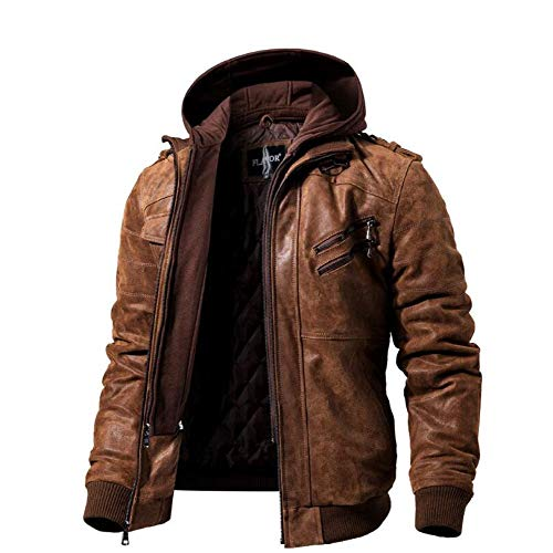 YOLL Free Give a glovesMens Real Leather Jacket with Removable HoodHooded Motorcycle Coat Biker Style MenBrown Genuine Leather Ski 3 in 1 JacketsBrownL